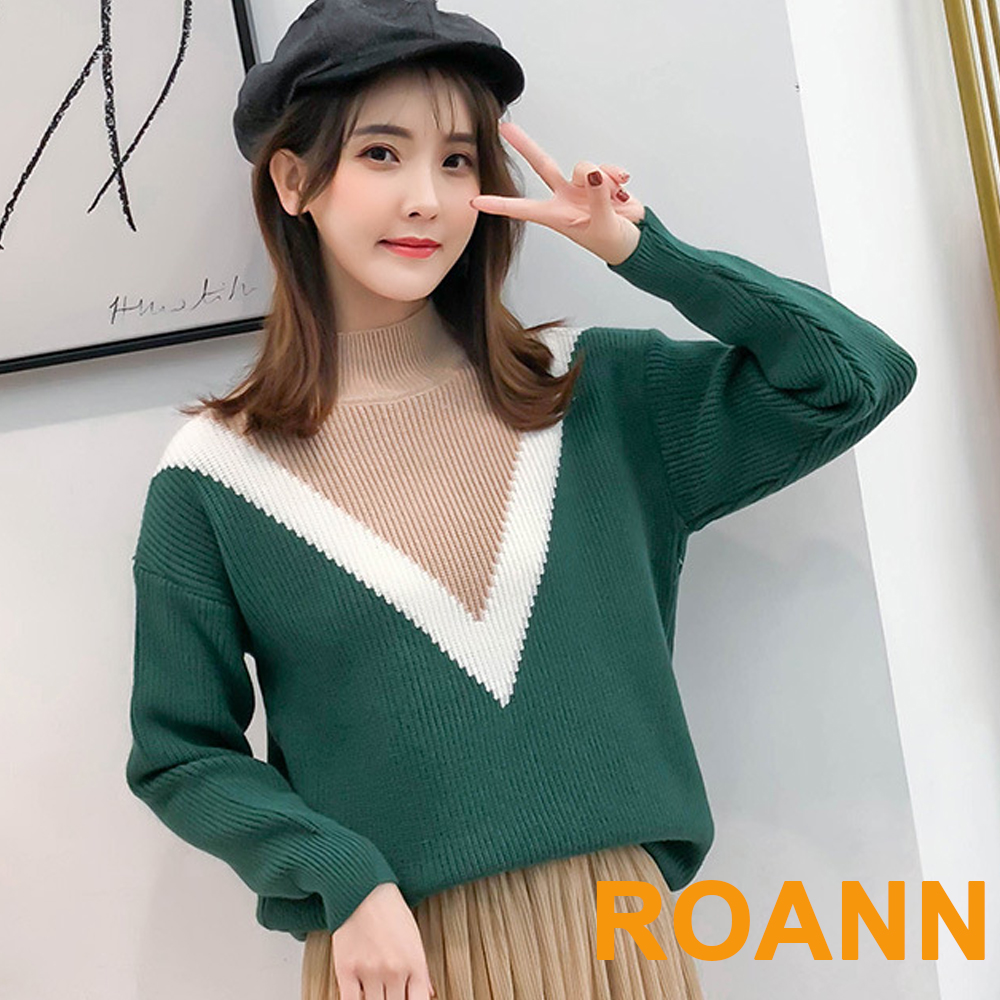 高領彩色V字拚色條紋針織衫 (共五色)-ROANN