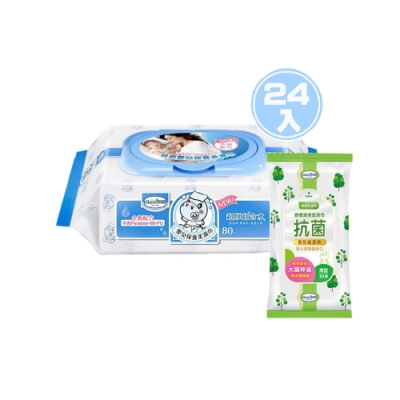 貝恩Baan NEW嬰兒保養柔濕巾80抽24入/箱+貝恩Baan潔膚抗菌柔濕巾30抽*1包