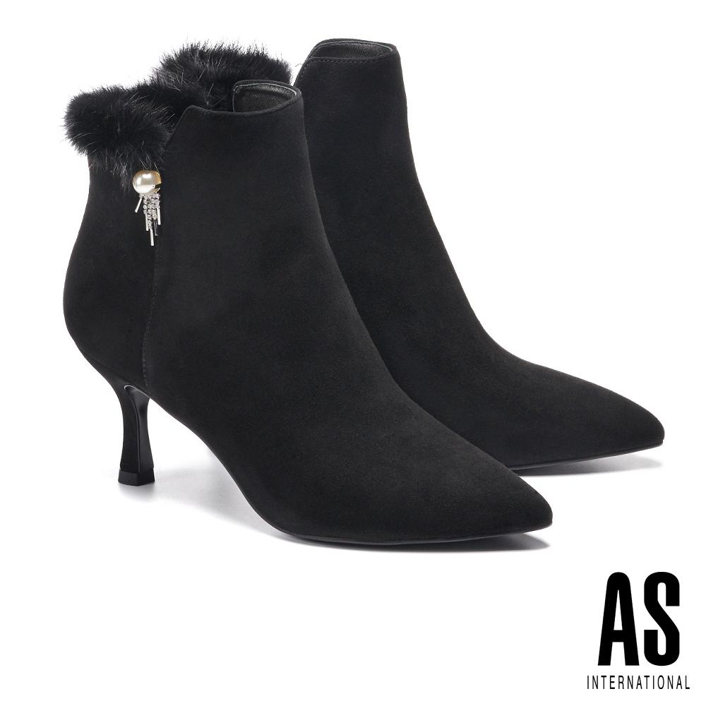 短靴 AS 奢華暖意貂毛珍珠鑽飾全真皮尖頭高跟短靴-黑