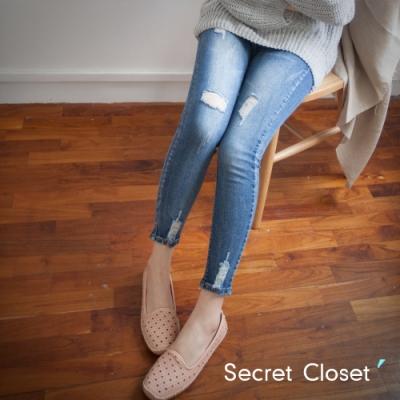 Secret Closet-破洞顯瘦修身九分牛仔褲