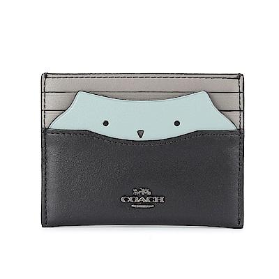 COACH  馬車金屬LOGO貓頭鷹造型拼接皮革證件夾-粉綠/黑色