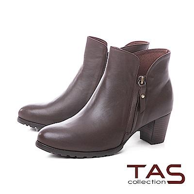 TAS側拉鍊素面牛皮V口粗跟短靴–溫暖咖