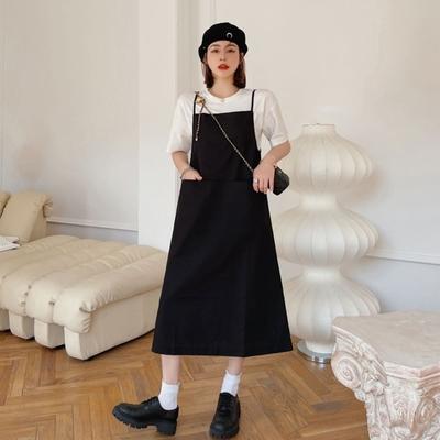 MOCO素色細肩吊帶棉麻中間口袋背心裙M~XL