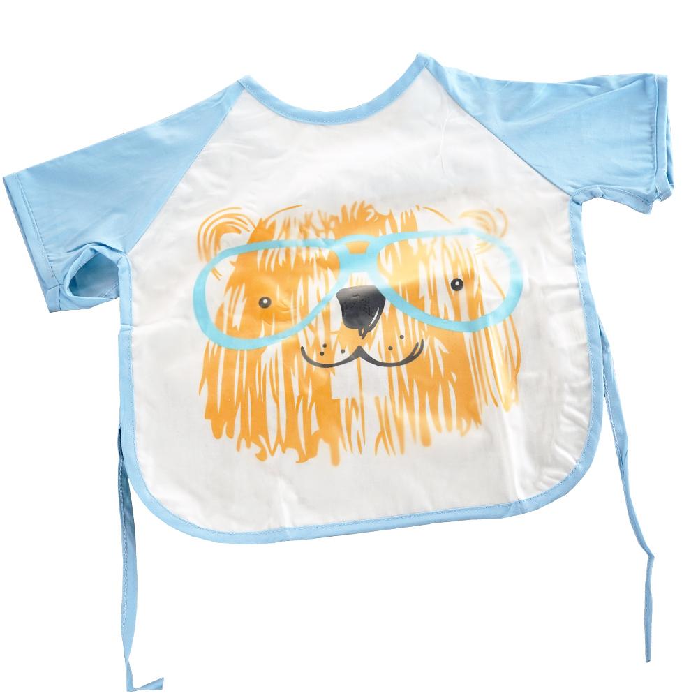 QBabe 塗鴉短袖防水畫畫吃飯寶寶罩衣-藍色小熊