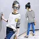 小衣衫童裝 中大童中性後背黑白條紋長袖T恤