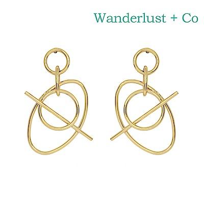 Wanderlust+Co 澳洲時尚品牌 INFUSION星軌造型耳環 金色