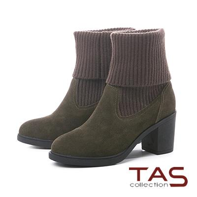 TAS粗織毛線反摺拼接麂皮粗跟長靴-草墨綠