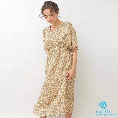 earth music 佩斯利花纹高腰雪紡洋裝