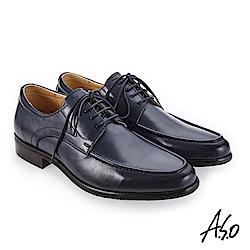 A.S.O 零壓挺力 臘感牛皮高透氣真皮鞋 深藍_0