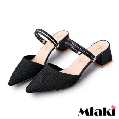 Miaki-跟鞋時尚佳人針織尖頭包鞋-黑