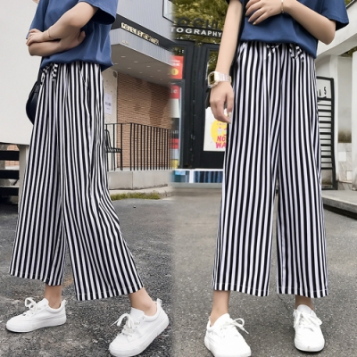 【韓國K.W.】(預購) 舒適宜人簡約條紋寬褲