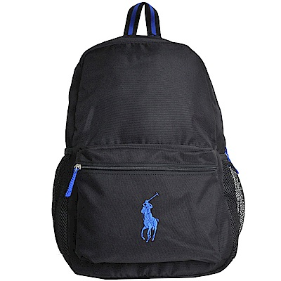 POLO Ralph Lauren 品牌藍色小馬LOGO圖騰刺繡尼龍後背包(黑)