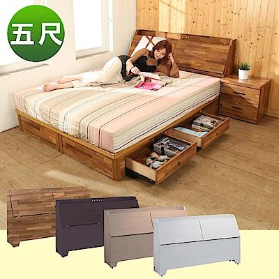 BuyJM雙人5尺2件式房間組(床頭箱+四抽床底)4色-免組