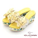 【CUMAR】印花點點蝴蝶結楔型厚底涼拖鞋-米