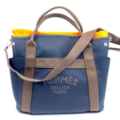 HERMES The Groom 海軍藍帆布手提肩背購物包(附內袋)