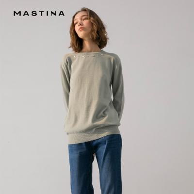 【MASTINA】領口鑽石珍珠造型上衣-針織衫(三色/魅力商品)