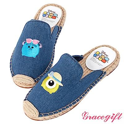 Disney collection by grace gift帆布麻編懶人拖鞋 深藍