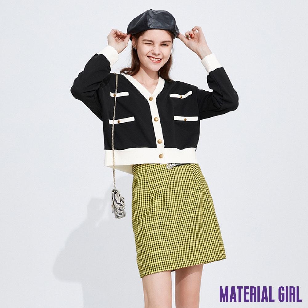 MATERIAL GIRL 小香風黑白撞色短款針織衫【20春季款】-A111389