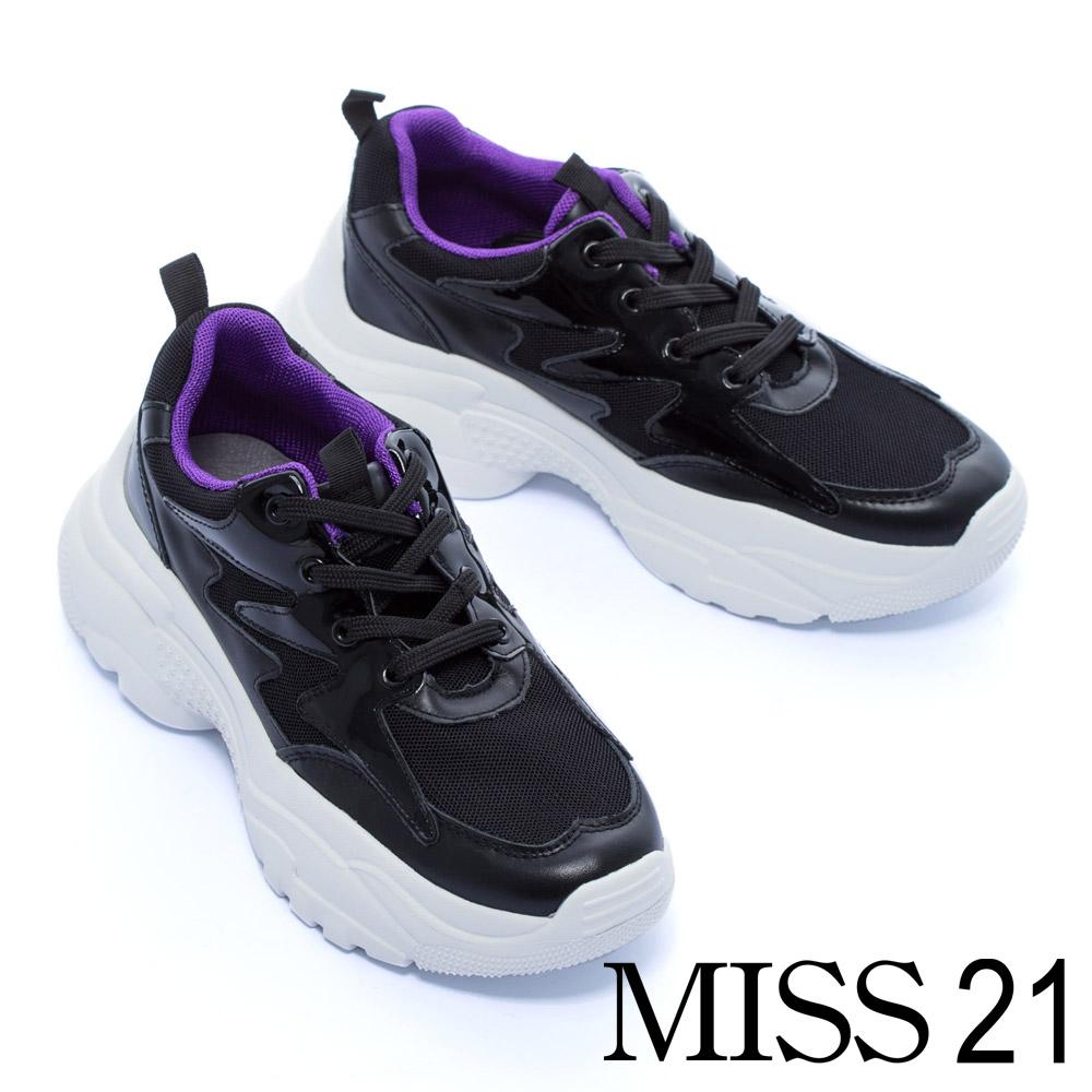 休閒鞋 MISS 21 帥氣品味異材質拼接綁帶厚底休閒鞋-黑