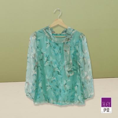 ILEY伊蕾 領巾造型雅致印花上衣(水)