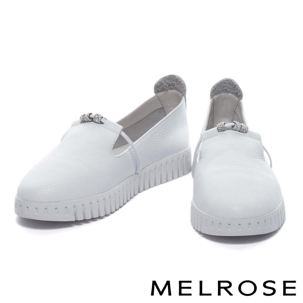 休閒鞋 MELROSE 簡約率性璀璨白鑽串珠全真皮厚底休閒鞋-白