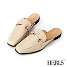 HERLS 紳士品味 內真皮馬銜釦方頭低跟穆勒鞋-米色