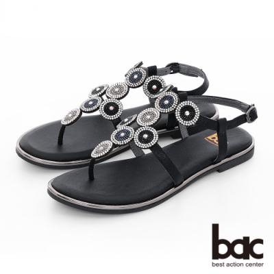 【bac】繽紛曼谷 -波西米亞風格大小圈鑽飾夾腳涼鞋-黑色