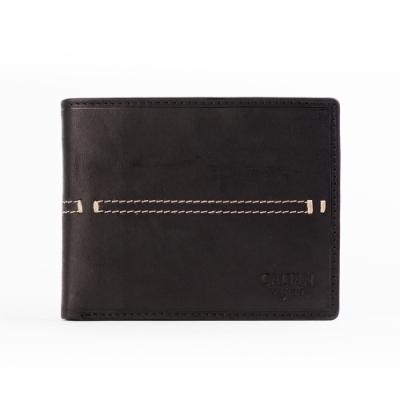 CALTAN-帥氣皮革縫線短夾-071769bk