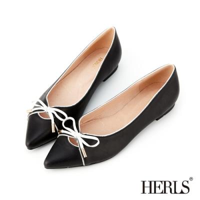 HERLS 全真皮蝴蝶結滾邊配色尖頭平底鞋-黑色