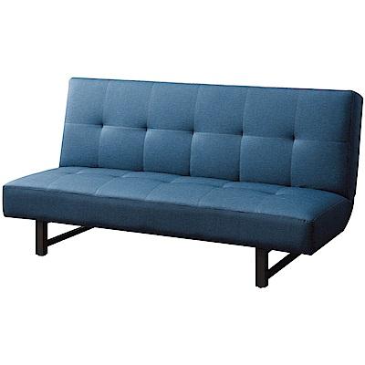 綠活居 雷斯時尚藍皮革沙發/沙發床(展開式機能設計)-180x88x95cm免組