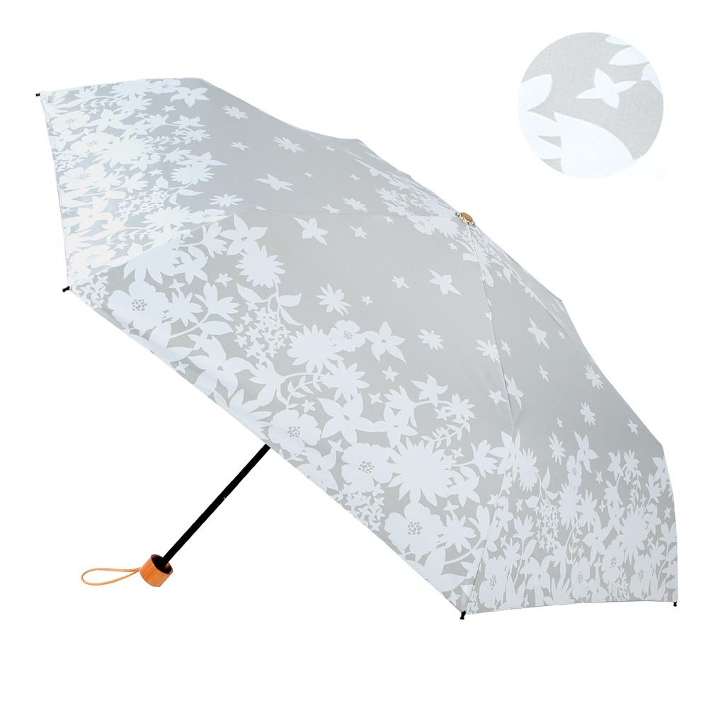 2mm 100%遮光 碎花剪影黑膠輕量手開傘 (灰色)