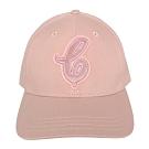 COACH粉紅草寫C絨布貼字純棉棒球帽