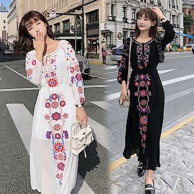 DABI 韓國民族風顯瘦刺繡花朵波西米亞長袖洋裝
