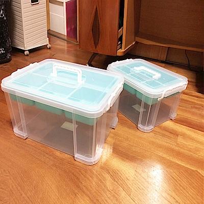 創意達人布蕾蒂豪華組手提雙層整理箱(9L+15L)6入組