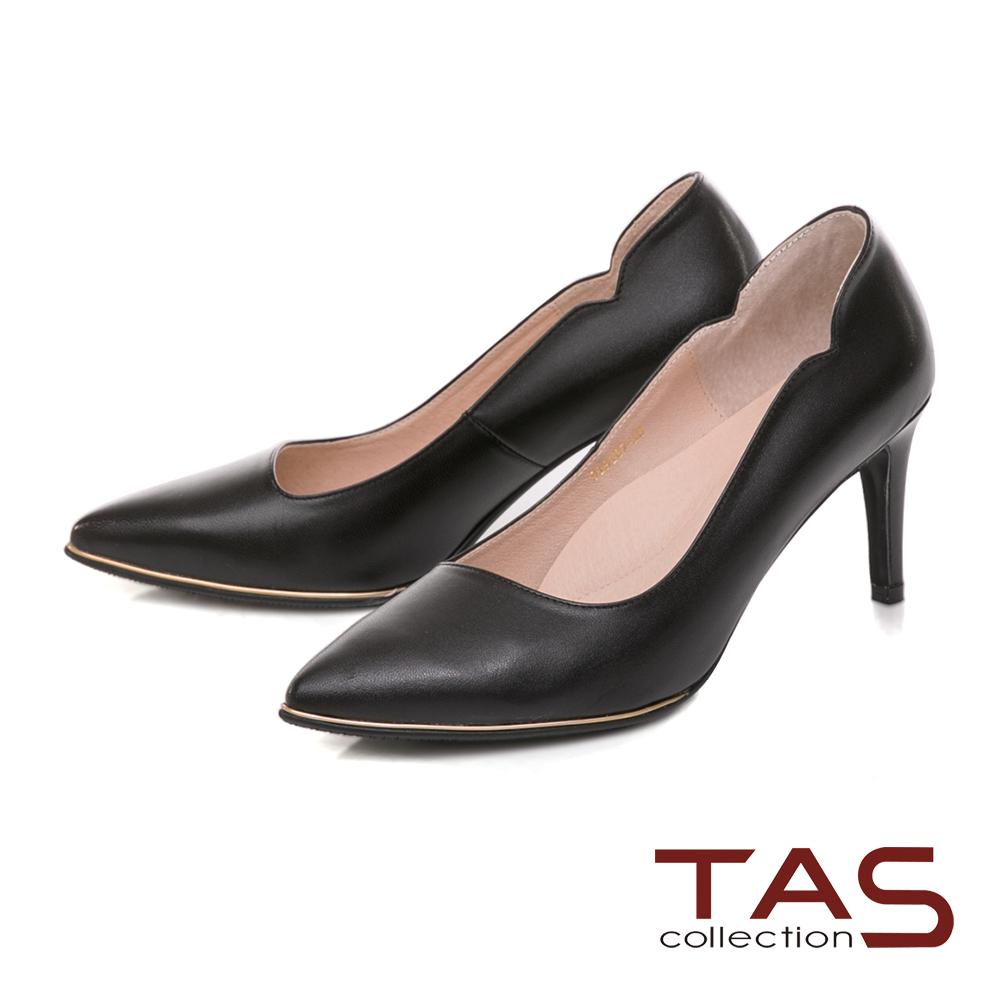 TAS 美型側v羊皮金屬邊條高跟鞋-優雅黑