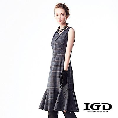 IGD英格麗 簡約俐落格紋荷葉裙襬長洋裝