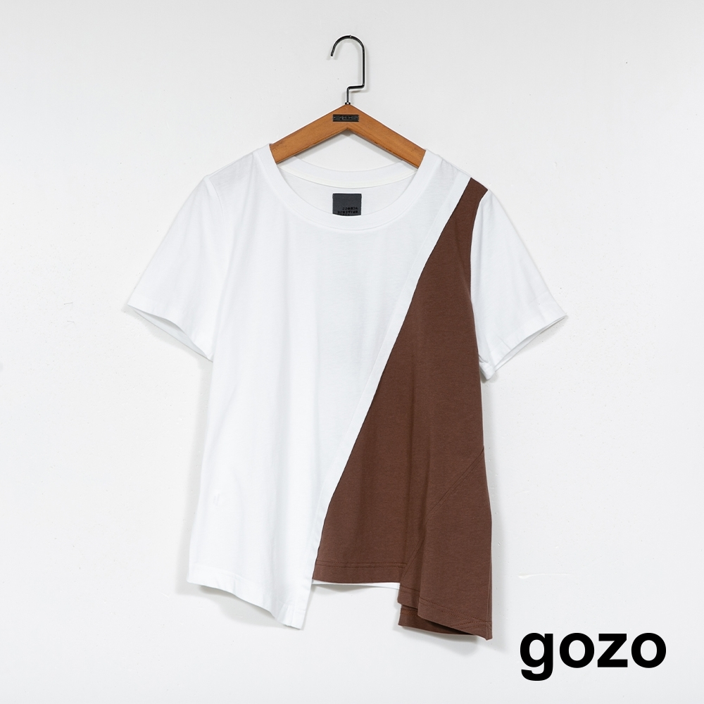 gozo-拼色不規則上衣-(兩色) product image 1