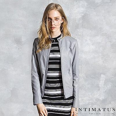 INTIMATUS 真皮 簡約立領設計修身短版小羊皮皮衣 時尚灰