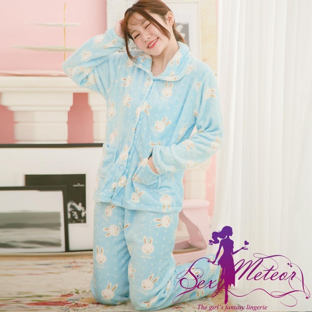 睡衣 大尺碼 兔子點點開釦水貂絨長袖二件式睡衣組(輕盈藍) Sexy Meteor