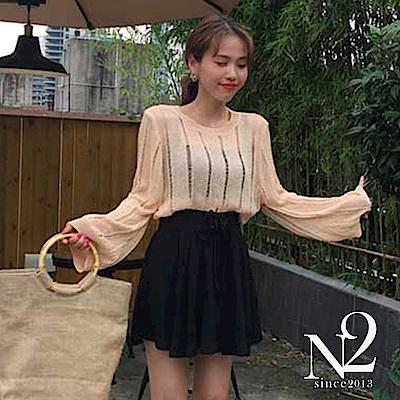 褲子 前绑帶繫鬆緊收腰傘狀褲裙(黑) N2