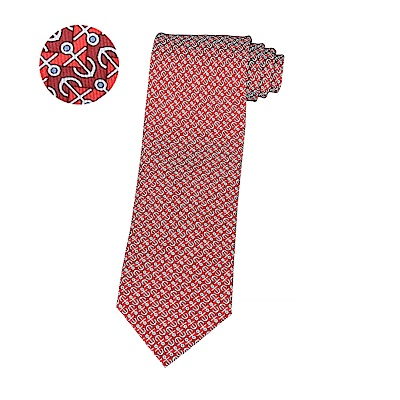 HERMES愛馬仕VAGUE D ANCRE經典緹花LOGO船錨設計蠶絲領帶(深紅)