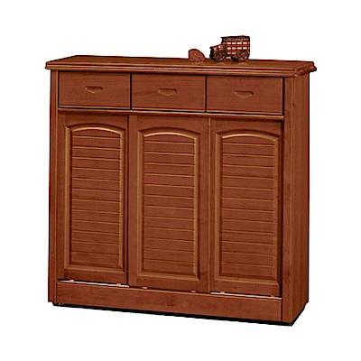 綠活居 赫曼拉時尚4.1尺實木三門鞋櫃/玄關櫃-124x40x106cm-免組
