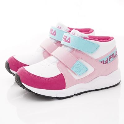 FILA頂級童鞋 高足弓護踝機能運動鞋 EI26T-122桃粉藍(中小童段)