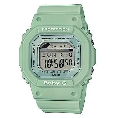 BABY-G復刻經典衝浪板海灘活動設計潮汐月相休閒錶(BLX-560-3)綠色40mm