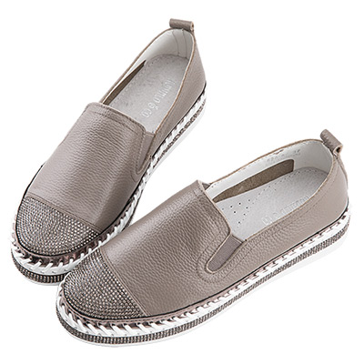 Robinlo & Co.造型閃鑽牛皮厚底休閒鞋 灰