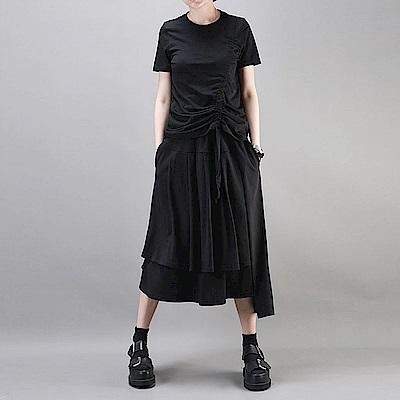 暗黑風百褶裙寬鬆中長版A字裙-設計所在 1798