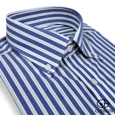 GIBBON 輕商務紳仕長袖襯衫‧藍條