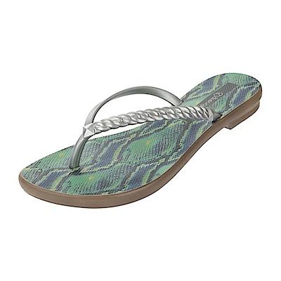 GRENDHA 狂野蟒蛇紋夾腳鞋-綠/銀