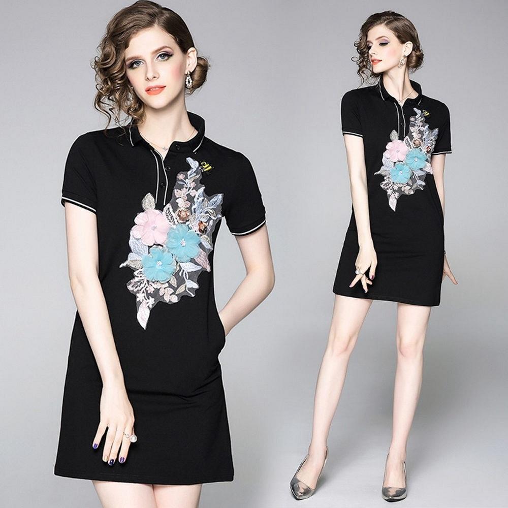 清麗雅緻立體花卉撞色翻領短袖純色黑斜插口袋洋裝S-2XL-M2M