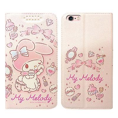 三麗鷗授權 iPhone 6s Plus/6 Plus 粉嫩系列彩繪磁力皮套(粉撲)